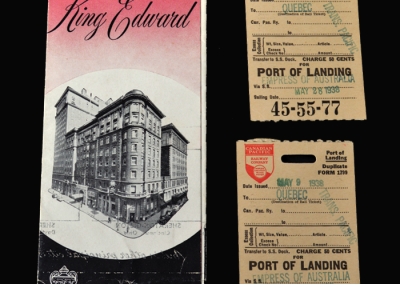 Quebec landing card & exit card with hotel brochure 09.05.1938
