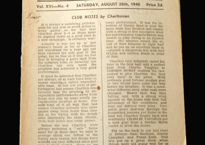 Charlton v Huddersfield 28.08.1948