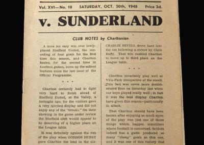 Charlton v Sunderland 30.10.1948