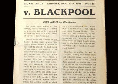 Charlton v Blackpool 27.11.1948