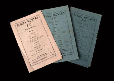 Sligo Rovers v Drumcondra 27.08.1950 | Sligo Rovers v Dundalk 30.08.1950 | Slig Rovers v Shamrock 03.09.1950 (a few early games in Ireland)
