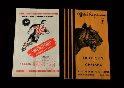 Brentford v Chelsea 05.10.1954 (Friendly) - manager Ted Drake delighted with his efforts in a couple of friendlies | Hull v Chelsea 11.10.1954 (Friendly)