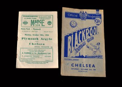 Plymouth v Chelsea 18.10.1954 (another friendly, gets a couple) | Blackpool v Chelsea 23.10.1954