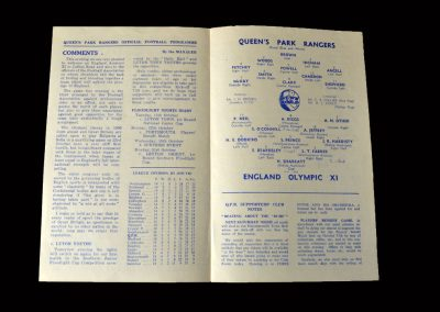 QPR V England Olympic 11 10.10.1955 (International trial)