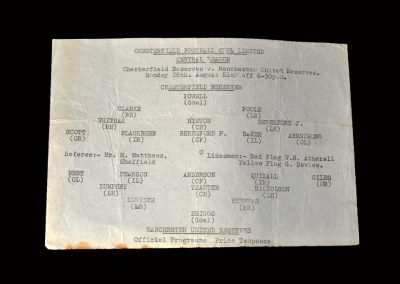 Chesterfield Reserves v Man Utd Reserves 26.08.1963