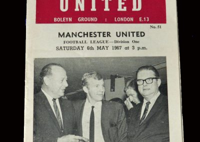 Man Utd v West Ham 06.05.1967 (6-1 win and Champions)