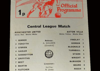 Man Utd v Aston Villa 06.10.1973 (In the reserves trying to comeback)