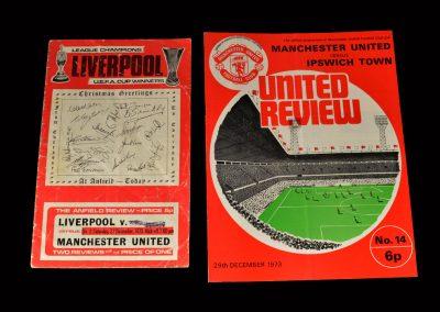 Liverpool v Man Utd 22.12.1973 | Man Utd v Ipswitch 29.12.1973