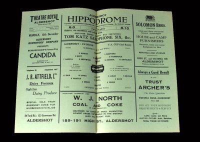 Aldershot v Swindon 13.12.1947 (FA Cup 2nd Round)