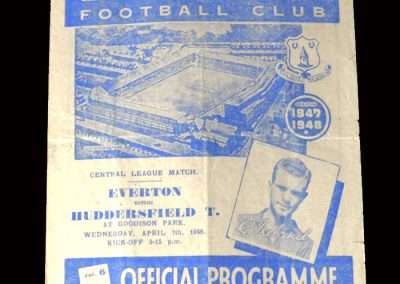 Everton Reserves v Huddersfield Reserves 07.04.1948