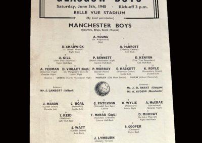 Manchester Boys v Glasgow Boys 05.06.1948