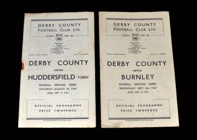 Derby v Huddersfield 23.08.1947 | Derby v Burnly 03.09.1947