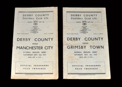 Derby v Man City 10.09.1947 | Derby v Grimsby 04.10.1947