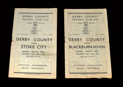 Derby v Stoke 13.12.1947 | Derby v Blackburn 27.12.1947