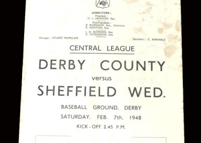 Derby Reserves v Sheff Wed Reserves 07.02.1948