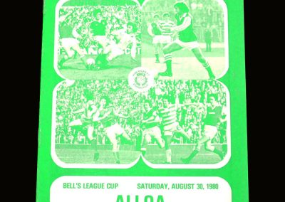 Hibs v Alloa 30.08.1980 - Scottish League Cup 2nd Round 2nd Leg