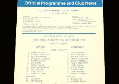 Hibs v Dundee 09.09.1980 (Best still not back)