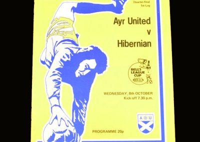 Hibs v Ayr United 08.10.1980 - Scottish League Cup Quarter Final 1st Leg