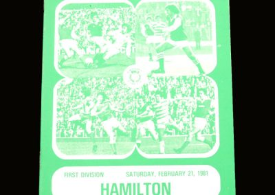 Hibs v Hamilton 21.02.1981 - Gone but still on the cover
