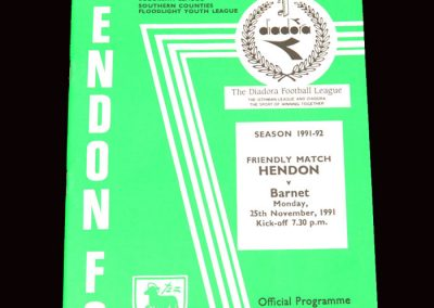 Barnet v Hendon 25.11.1991 (Friendly)