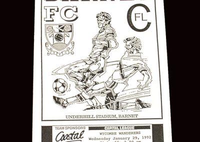 Barnet Reserves v Wycombe Reserves 29.01.1992