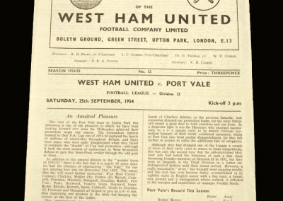 Port Vale v West Ham 25.09.1954