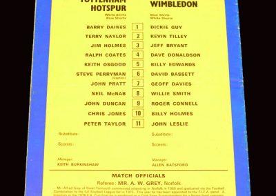 Spurs v Wimbledon 30.08.1977 - League Cup 2nd Round