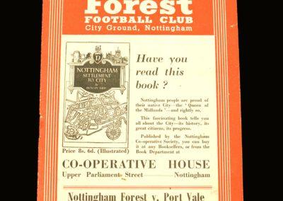 Port Vale v Notts Forrest 30.10.1954