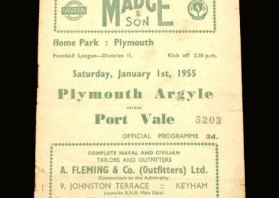 Port Vale v Plymouth 01.01.1955