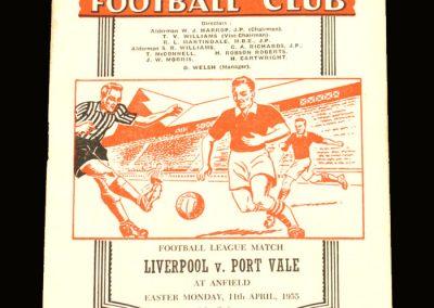 Port Vale v Liverpool 11.04.1955