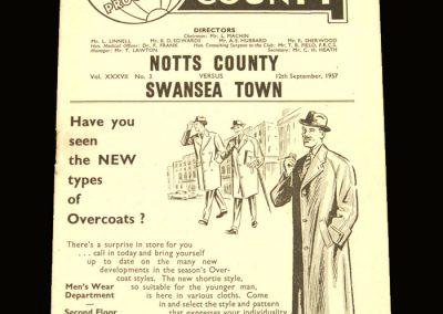 Notts County v Swansea 12.09.1957