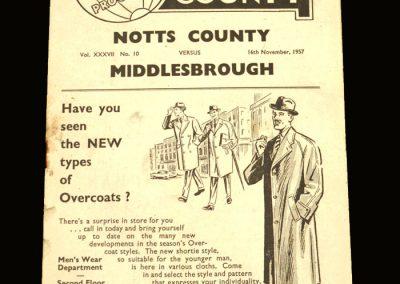Notts County v Middlesbrough 16.11.1957