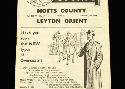 Notts County v Leyton Orient 22.02.1958