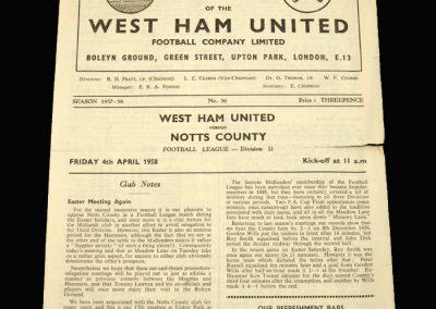 Notts County v West Ham 04.04.1958