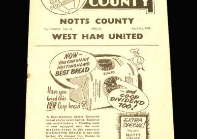 Notts County v West Ham 08.04.1958