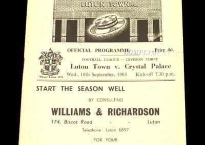 Crystal Palace v Luton 18.09.1963