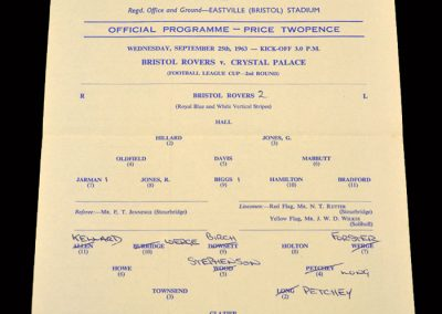Crystal Palace v Bristol Rovers 25.09.1963 - League Cup 2nd Round