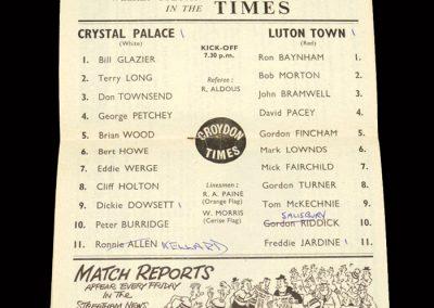 Crystal Palace v Luton 02.10.1963