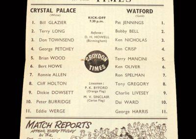 Crystal Palace v Watford 09.10.1963