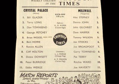 Crystal Palace v Millwall 12.10.1963