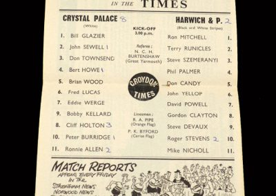 Crystal Palace v Harwich and Parkeston 16.11.1963 - FA Cup 1st Round