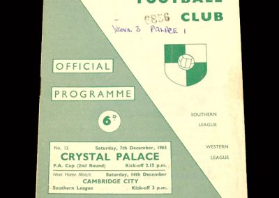 Crystal Palace v Yeovil 07.12.1963 - FA Cup 2nd Round