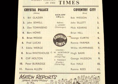 Crystal Palace v Coventry 14.12.1963