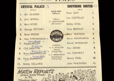 Crystal Palace v Southend 28.12.1963