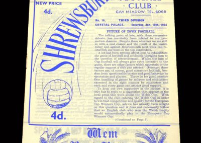Crystal Palace v Shrewsbury 18.01.1964