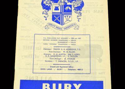 Cardiff v Bury 17.09.1963