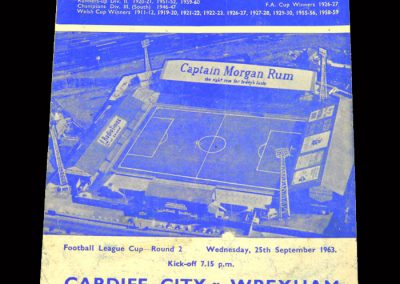 Cardiff v Wrexham 25.09.1963 - League Cup 2nd Round