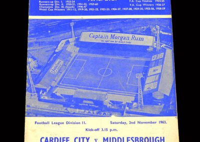 Cardiff v Middlesbrough 02.11.1963