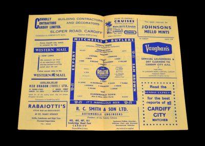 Cardiff v Huddersfield 16.11.1963