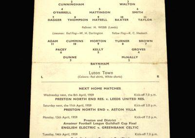 Preston v Luton 06.04.1959